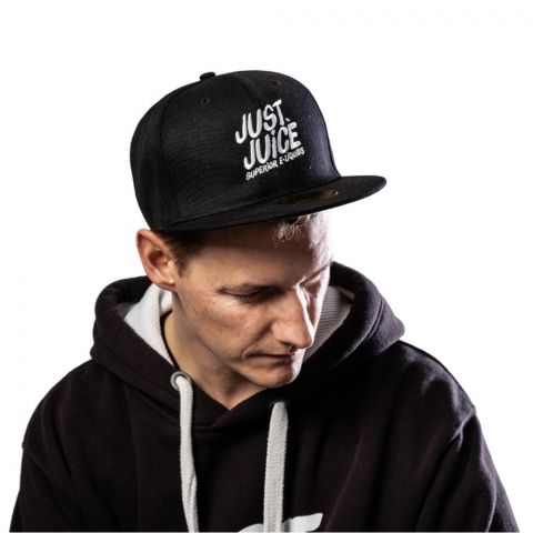 Man wearing Just Juice black baseball cap