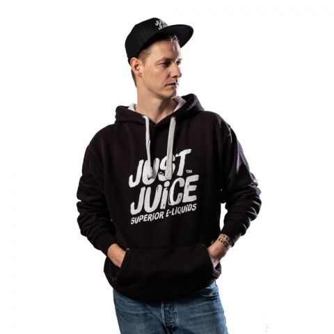 Man wearing a Just Juice black hoodie and black base ball cap from front