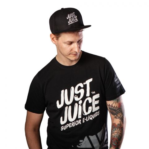 Man wearing Just Juice black t-shirt and black cap from front